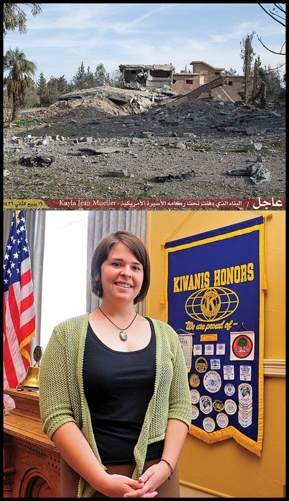 Tragic: Kayla Jean Mueller, 26, is understood to be the last U.S. hostage held by the terror group, which had been demanding $6.6 million for her release ISIS released images of this badly damaged building in which they claimed Kayla Jean Mueller had been killed during an Jordanian airstrike