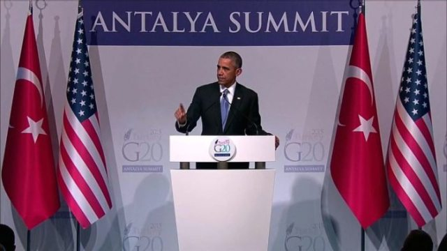 President Barack Obama speaks at the G-20 meeting in Turkey.